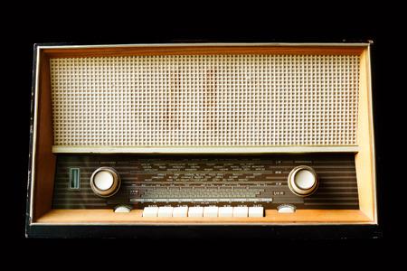 shortwave: Vintage radio isolated on a black background