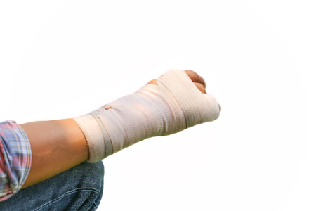 splint: Splint broken bone  hand Injured in white background