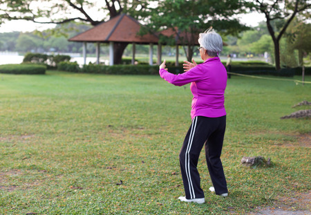 Senior women practicing yoga and tai chi in the park