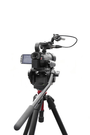 Selected focus camcorder isolated in white background