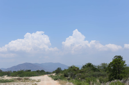 cloud scape: Road to the mountain and cloud scape sky background in the blue sky Stock Photo