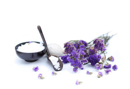 Spa accessories with thai herb  and flower in white background