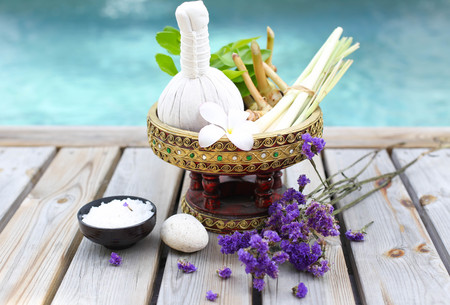 dayspa: Spa accessories with thai herb  and flower Stock Photo