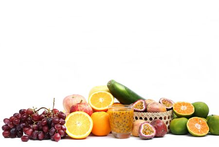 focus group: Selected Focus Group of fruits and vegetables isolated on a white background Stock Photo