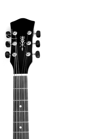 fretboard: Acoustic guitar neck in black and  white