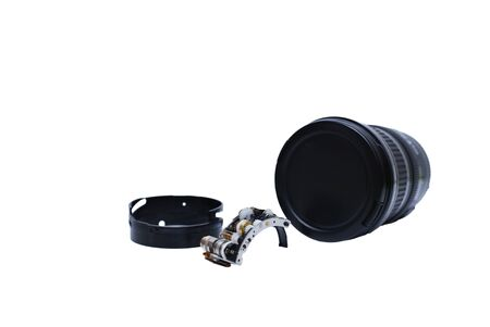 tiny lenses: Repair Parts of Single lens camera isolated on White backgrounds