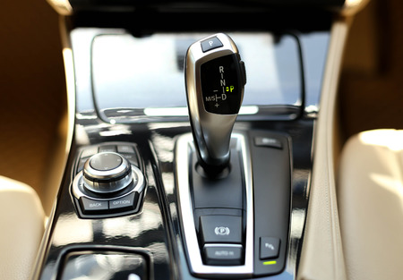 Detail on a automatic gear shifter in a car