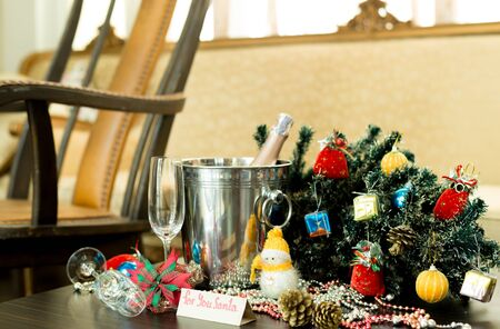 rocking chair: Christmas decorations with champagne wine and rocking chair