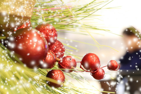 falling down: Christmas balls decoration and snow falling down in winter Stock Photo