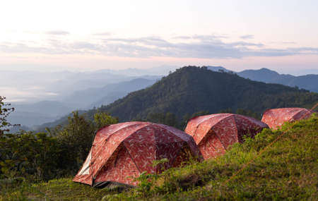camping site: Camping site in Doi Ang Khang Chiang Mai Thailand watching sunrise  view