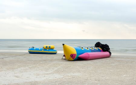lays: Banana boat lays on a beach in Thailand