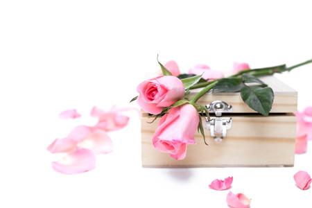 Rosafarbene Rosen auf Holzkiste in isolierten Hintergrund Selektiver Fokus Standard-Bild
