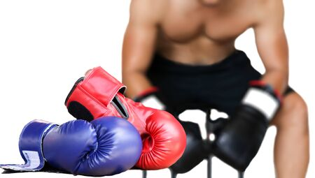 sit down: Selected focus Man sit down resting on doing boxing excercise in the gym Stock Photo