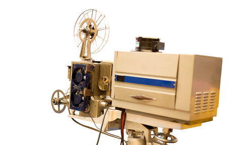16mm: Selected focus Vintage Film Projector isolated in white background Stock Photo