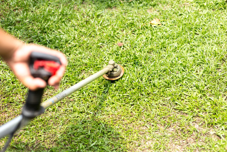 trimmer: Gardener mowing the grass with petrol weed trimmer
