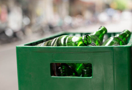 recycle area: Empty Beer Bottles in the box for recycle