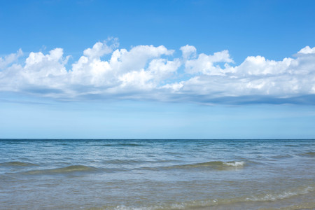 hua: Beautiful sky with white cloud and water of the ocean in Thailand