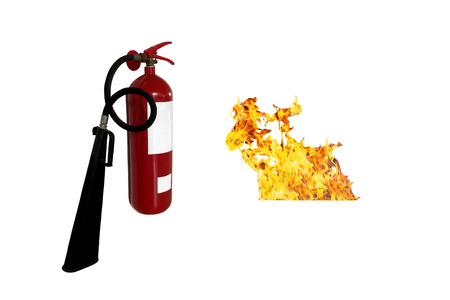 suppression: Concept Fire extinguisher and flame isolated on white background