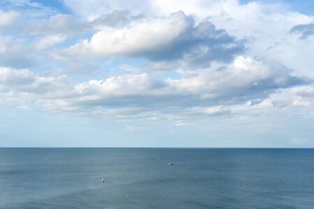 coche: Top view cloud scape and ocean with fishing boat in Thailand