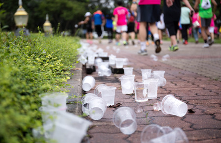 Selected focus water cups on the floor at the Marathon racing track