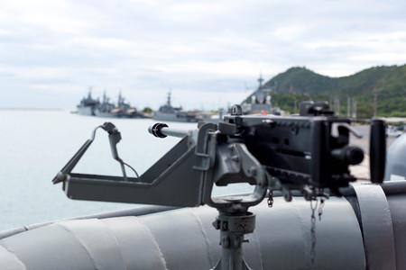 machine gun: Selected focus Navy on machine gun on the thai warship