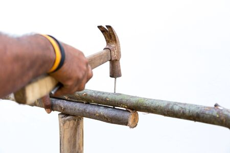 pounding head: Man hands nails with hammer on wooden outdoors making a fence in white background