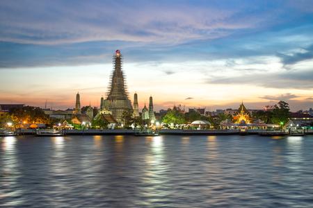 Wat Arun Rajwararam the Temple of Dawn next to the Chao Phaya River in Bangkok Thailand