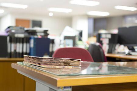 Folder on office desk in blur background