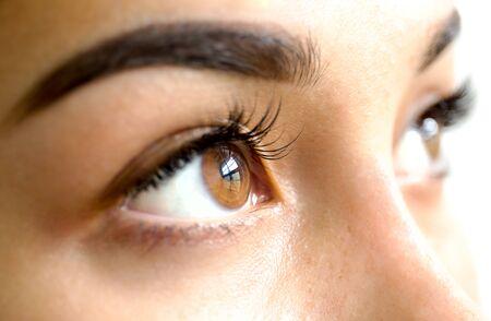 Close up mixed race woman brown eyes with long eyelashes