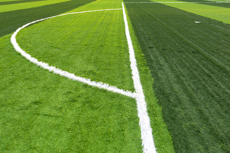 Soccer football field with artificial grass pattern and line Stock Photo