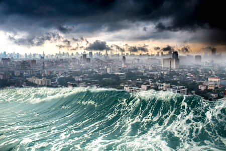 Conceptual nature disaster city destroyed by Tsunami waves Stockfoto