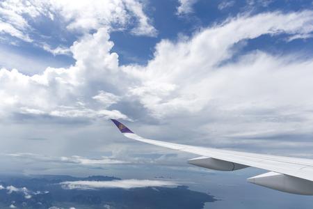 Oct 12, 2017- Thai Airways plane with logo on wing take off from Suvarnabhumi International Airport