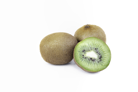 Kiwi fruits Isolated on white background in clipping path