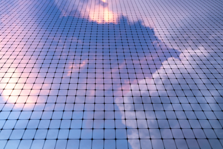 Background texture of bird net with cloud and sky.