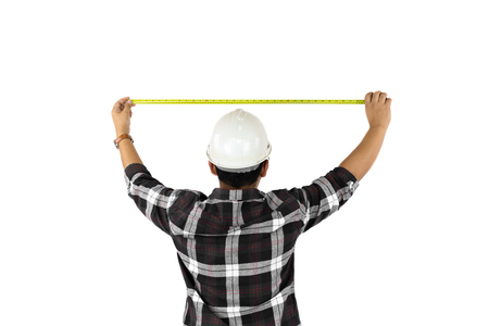 Builder measuring size with tape meter isolated on white backgroun.