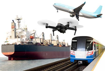 Global transportation conceptual commercial trains, Aircraft, crane ship.