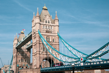 Tower bridge with white flower blossom London in spring.