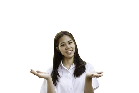 Smiling woman in university uniform with open hands in clipping path.