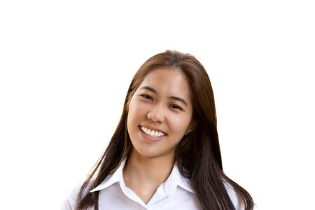 Teenage woman with perfect smile looking at camera isolated. Stock Photo