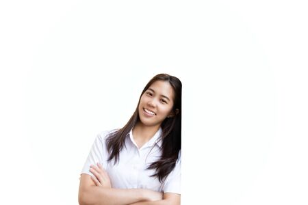 Teenage woman studen with crossed hands smiling isolated.