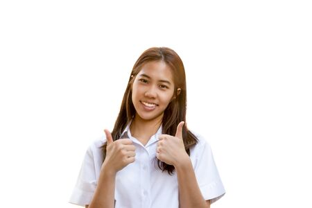 Portrait of smiling student university uniform with thumb up isolated.