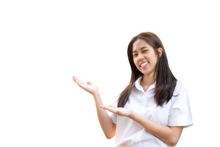 Smiling woman in university uniform with open hands isolated Stock Photo