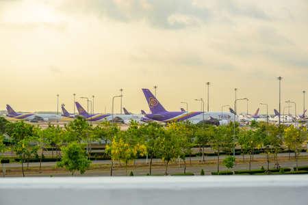 Suvarnabhumi airport Thai Airways stop operation from COVID-19.