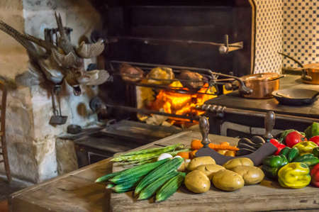 carots: Food on the table for a meal as prepared in the Middle Ages Stock Photo