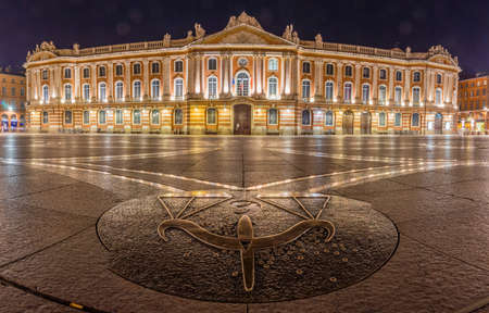 The Capitole square and city hall in Toulouse at night