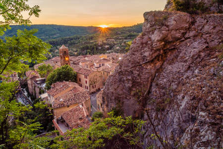 Beautiful sunset in the lovely village of Moustiers Sainte Marie in France Stock Photo