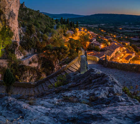 The lovely village of Moustiers Sainte Marie at night Stock Photo