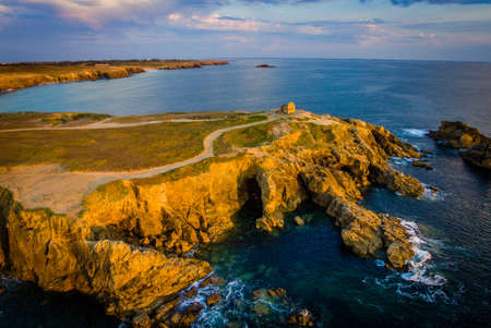 Drone view of Quiberon in France at sunset
