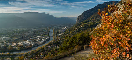 View from the La Bastille hill in Grenoble in autumn