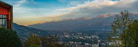 Panorama from La Bastille in Grenoble with Mont-Blanc mountain in the background Stock Photo